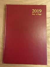 2019 A4 Day A Page Diary Burgundy Hard cover