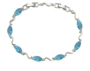 925 Sterling Silver Filled Ladies Aquamarine Blue Gemstone Bracelet