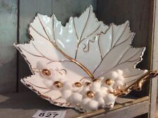 More details for fruit dish - grape vine leaf with grapes - white & gilding - vgc made in italy