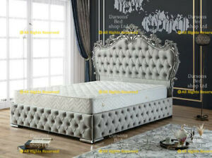 Winged bed frame upholstered double - king -  wingback -scroll - sleigh - french
