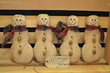 4 Primitive SNOWMAN Tucks Ornies Fillers Dolls CHRISTMAS Make Do's Shelf Sitters