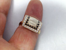 0.65ct Genuine Natural Black And White Diamond Ring In Solid 14K Yellow Gold