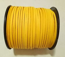 3mm Faux Suede Cord Leather Jewellery Making Beading Flat Thread String Saffron Yellow 10yd