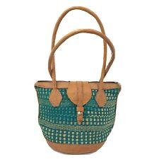 Jute Sisal  Round Woven Basket Bag Tote Rawhide Handles Handbag Purse Kenyan