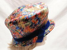 Vintage Psychedelic Bubble Toque Hat Womens Small Multi Color Metallic Blue 7s