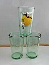 Set 3 BACARDI Green Glass x2 Embossed Bat Cuba (Libra/Mojito) x1 Limited edition