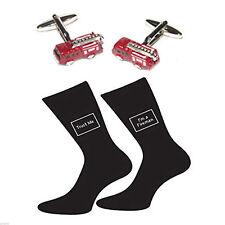 Red Fire Engine Cufflinks & Trust me I'm a Fireman Design Socks Gift Set