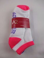 Aerosoles white ankle socks 3 pairs bright pink blue purple heels toes cuffs