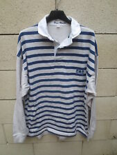 Polo SERGE BLANCO Quinze 15 rugby shirt gris bleu manches longues XL