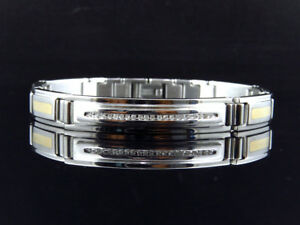 Mens 8.5mm Genuine Diamond Double Tone Link Stainless Steel Bracelet (.20Ct)