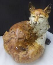 Italian Porcelain Hand Painted Fox Lying Down NEW