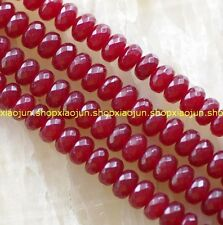 5x8mm Faceted Red Ruby Gemstone Abacus Loose Beads 15''AAA