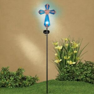 Solar Lighted Blue Glass Cross Copper-Colored Cemetery Memorial Garden Stake