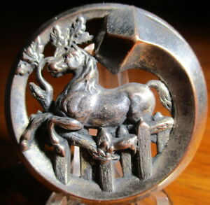 """Antique from France~""""HORSE~STEEPLE CHASE~NAIL AS RIM"""" Pierced Vintage Button"""
