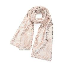 White and Rose Gold Animal Print Foil Scarf Scarves Ladies Fashion Accessories