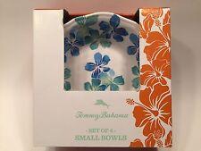 "Tommy Bahama Set of 4 Melamine 7"" Soup Cereal Salad Bowls Hibiscus Blue Hawaii"