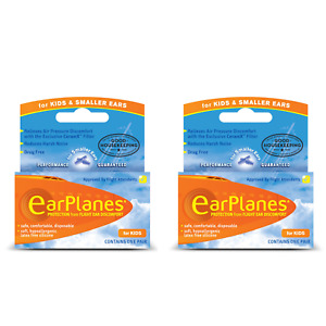 EarPlanes Silicone travel Earplugs, Kids and Smaller Ears x 2 Pairs