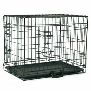 "Folding Metal Pet Cage Black 24"" Dog Crate Kennel Travel 2 Door With Tray Pan"
