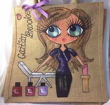 Personalised Handpainted Beautician Jute  Celebrity Handbag Hand Bag Gift