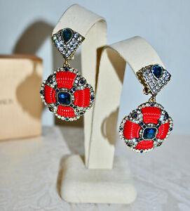 New $150 HEIDI DAUS Yacht Club Drop CLip On Earrings RED Enamel Blue Crystal