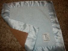 Ln Little Giraffe Blue/Brown Sherpa Plush Satin Baby Security Crib Lovey Blanket