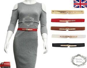 Ladies Women Fashion Vintage Buckle Elastic Stretch Waist Band Belt UK