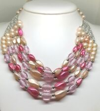VINTAGE 5 STRAND PINK ART GLASS & FAUX PEARL HOOK CLASP NECKLACE
