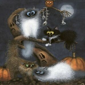 """""""Bump In The Night"""" by Tamsin Lord ~ Blank Greeting Card Funny Cats"""