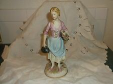 Vintage Kelvins Japan Figurine Maiden W/ Pitcher & Veggie Basket Occupied Japan