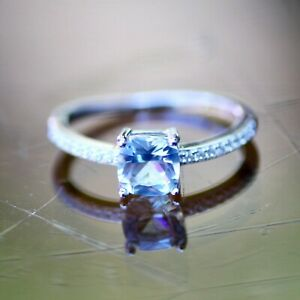 Lab Made Aquamarine Ring Solid Sterling Silver 925 , March birthstone