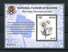 Bhutan 2016 MNH National Flower Blue Poppy 1v S/S Poppies Flowers Stamps