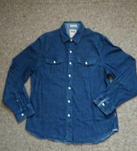 Levis Denim Shirt Dark Blue Western Style Size Medium VGC!