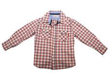 Gumboots Boys Check Red Black Cream Beige Clip Button Shirt Size 2-3