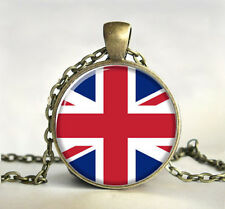 Union Jack Cabochon Glass Chain bronze Pendant Necklace Painting Gift