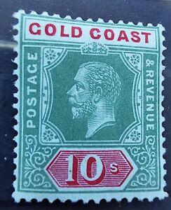 GOLD COAST GV 1916 10/- ON BLUE GREEN/OLIVE BACK SG83a cat 45 MM