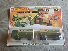 Vintage Matchbox Diecast Two-Packs TP-15 Military Truck and trailer
