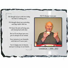 Memorial Plaque Photo Slate - Beautiful Poem + YOUR Picture! - LARGE 20 x 30cm
