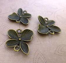 Paquete De 10-Conectores Floral De Bronce Antiguo/enlaces