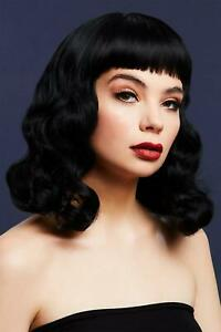 Fever Bettie Wig with Short Fringe Black 1950s Pin Up Ladies Fancy Dress wig