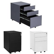 SONGMICS Stahl Rollcontainer Büroschrank mit Schubladen Rollwagen Büroschrank