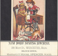 Spencer MA Worcester Antique New Home Sewing Machine Victorian Trade Card Tabby