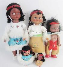 Vintage 5 Doll Collection Native American Indian Vinyl Squaws & Baby, Brave,Lot