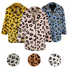 Janice Apparel Para Mujer Estampado Animal Piel Sintética Leopardo Muesca Collar chaqueta tamaño no