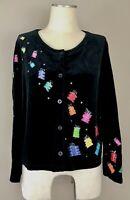 MICHAEL SIMON Lite Christmas Gifts Black Velour/Velvet Sweater/Cardigan Sz L