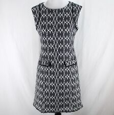 Calvin Klein Dress Sz 4 Black White Sleeveless Textured Lined Sheath