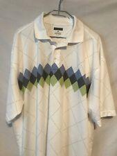 Pronto Uomo 2X White Argyle Poly Short Sleeve Golf Shirt Flaw 1393
