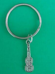 Tibetan Silver VIOLIN Keyring/Bag Charm.  MUSIC/MUSICIAN. Gift/Present.