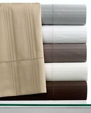 Hotel Collection King 600T Stripe Flat Sheet Ivory Egyptian Cotton ARGO