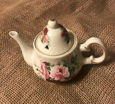"Baum Brothers Formalities Pink Roses Miniature Teapot Potpourri Jar With Lid 4"""