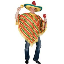 Mens Mexican Spanish Chilli Pepper and Sombrero Print Fancy Dress Poncho Costume